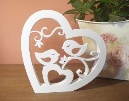 Birds Pair In The Heart Free DXF File