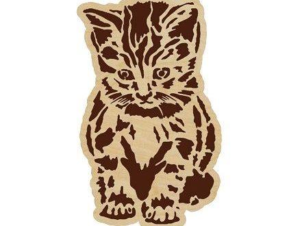 Cnc Laser Cut And Engraving Kitten Panel Free DXF File