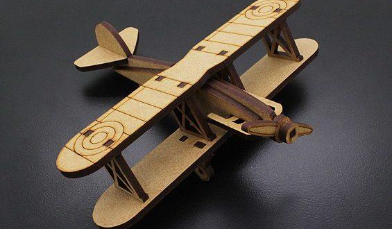 Laser Cut Biplan Airplane Toy Free CDR Vectors Art