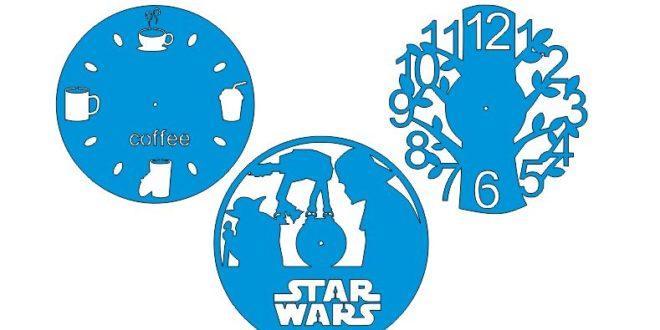 Laser Cut Clock Designs Star Wars Tree Coffee Free DXF File