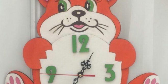 Laser Cut Clock With Cat Kids Free CDR Vectors Art