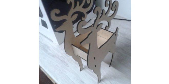 Laser Cut Deer Box (4mm) Free CDR Vectors Art