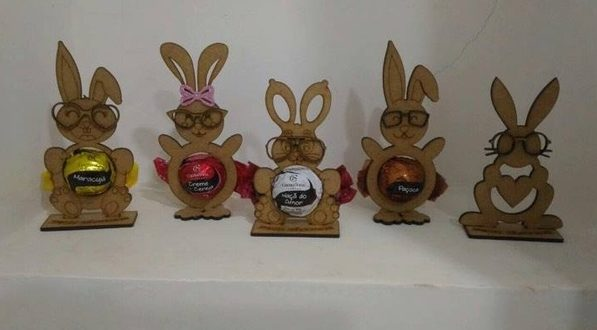 Laser Cut Easter Egg Tray Holder Stand Rabbit Free CDR Vectors Art