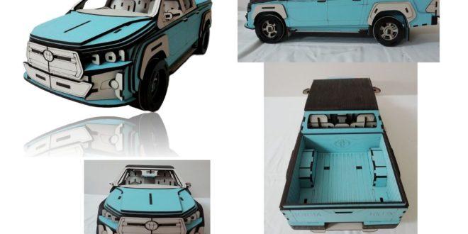Laser Cut Toyota Hilux Car 3d Puzzle Free CDR Vectors Art
