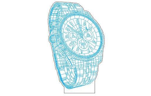 Laser Cut Wristwatch 3d Illusion Led Night Light Acrylic Free DXF File