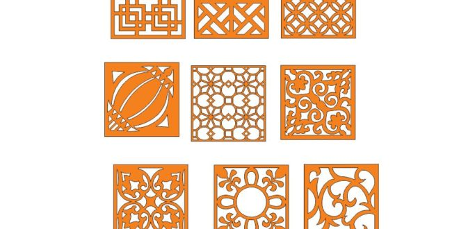 Pack Laser Cut Square Panels Grid Wall Decor Elements Free DXF File