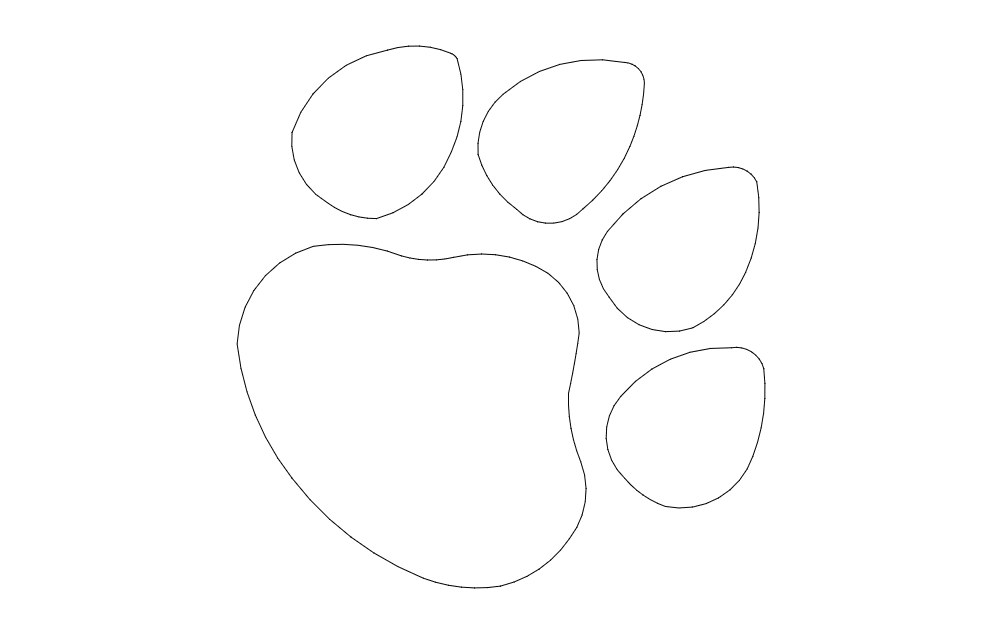 Dog Paw Print Free DXF File