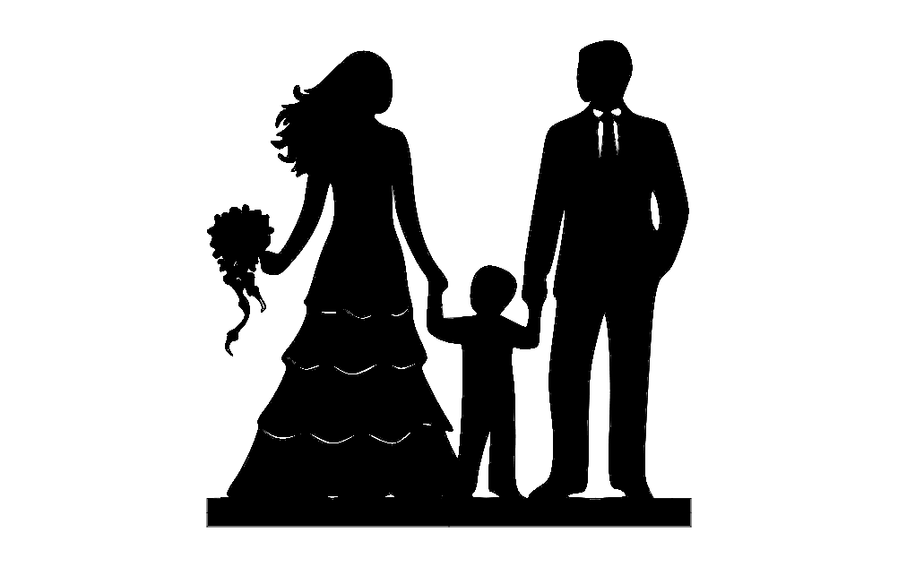 Family Silhouette Free DXF File
