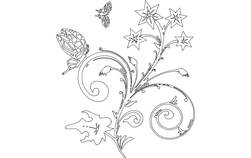 Floral Design Star Plant Free DXF File