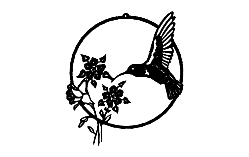 Hummingbird With Flowers Free DXF File