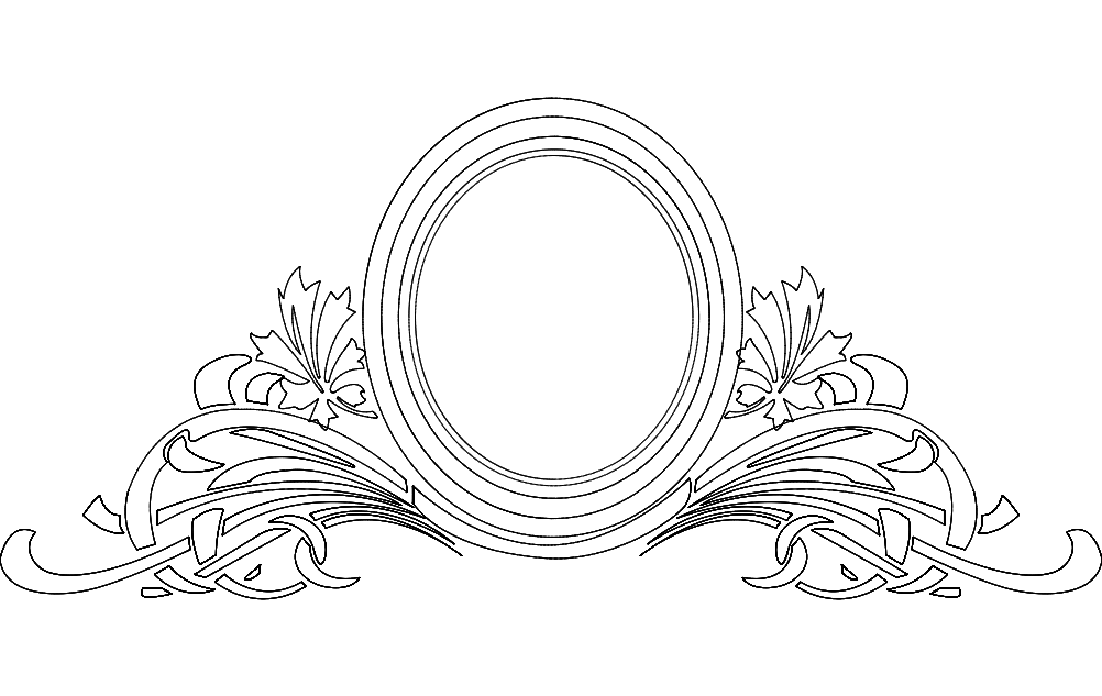 Mirror Frame Floral Free DXF File