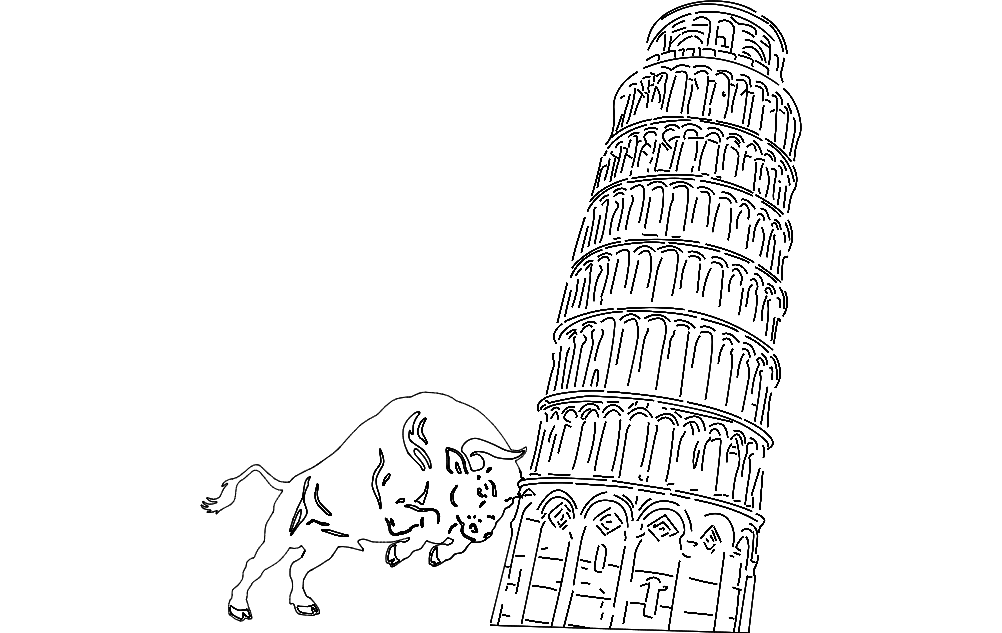 Pisa Tower And Bull Free DXF File