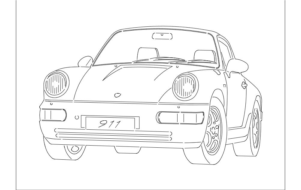 Porsche Car Free DXF File