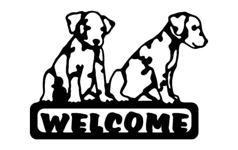 Puppies Welcome Sign Free DXF File