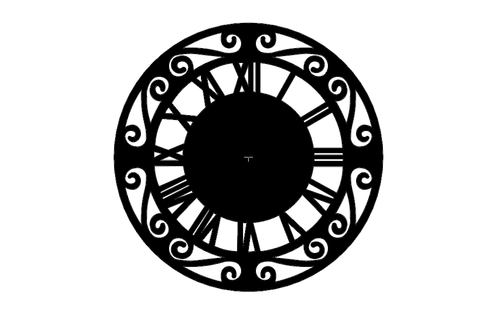 Roman Numerall Clock Free DXF File