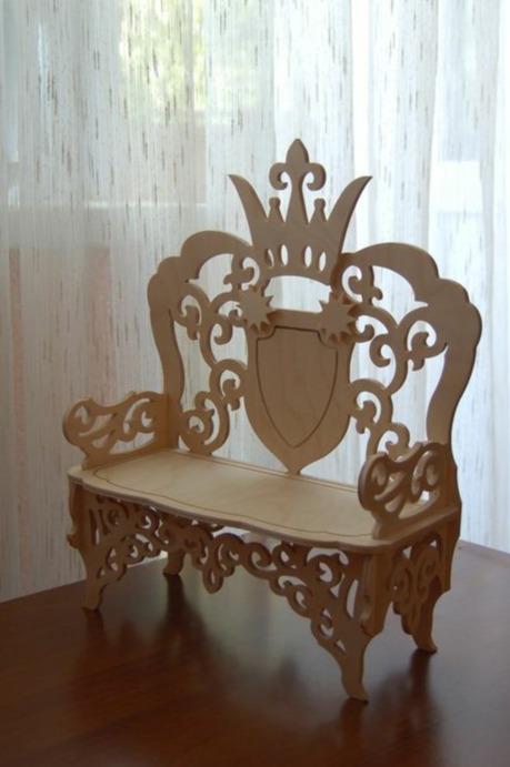 Cnc Laser Cut Crown Chair Design Free DXF File