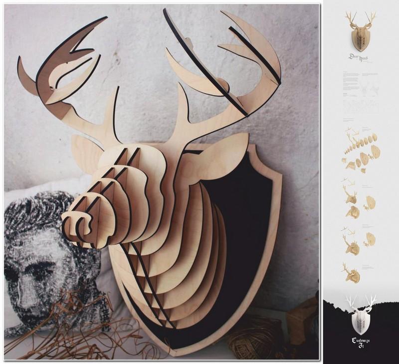 3d Puzzle Amazing Design Deer Head Free CDR Vectors Art