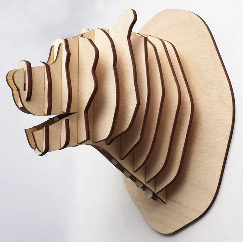 3d Puzzle Amazing Design Project Bear Head Free CDR Vectors Art