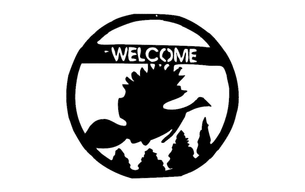 Welcome Bird Scene Free DXF File