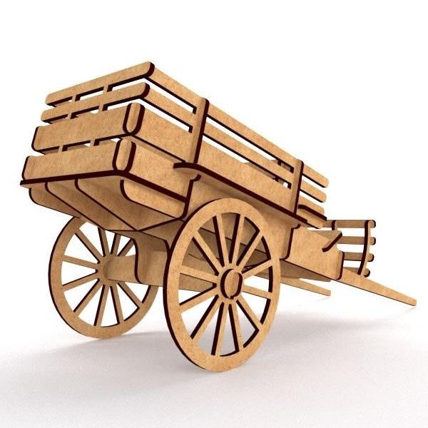 Laser Cut Cnc Project Wooden Cart Free CDR Vectors Art