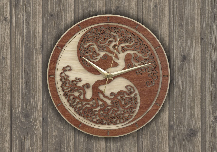 Wall Clock Wooden Round Free CDR Vectors Art