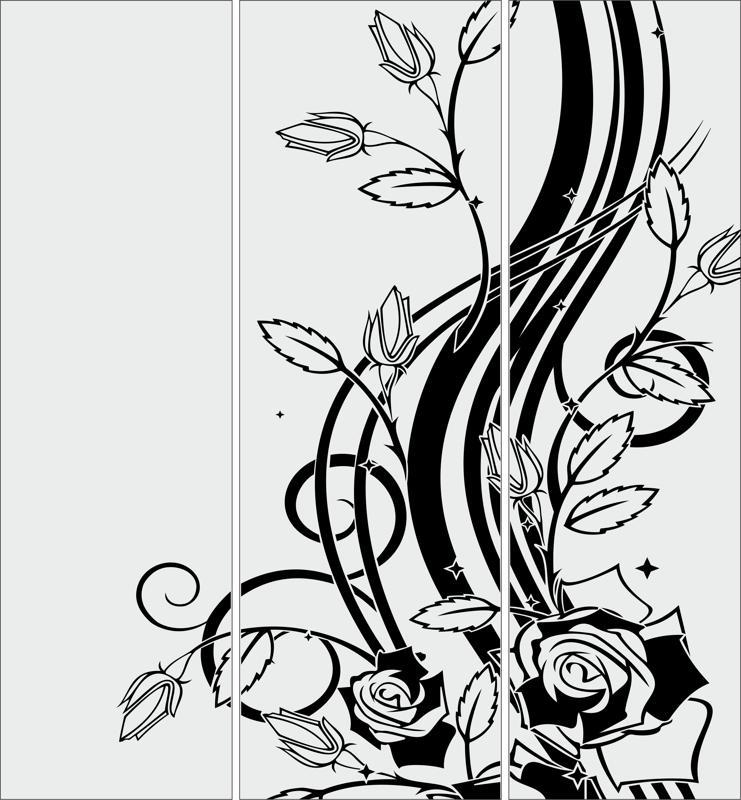 Abstract Sandblasting Glass Floral Free CDR Vectors Art