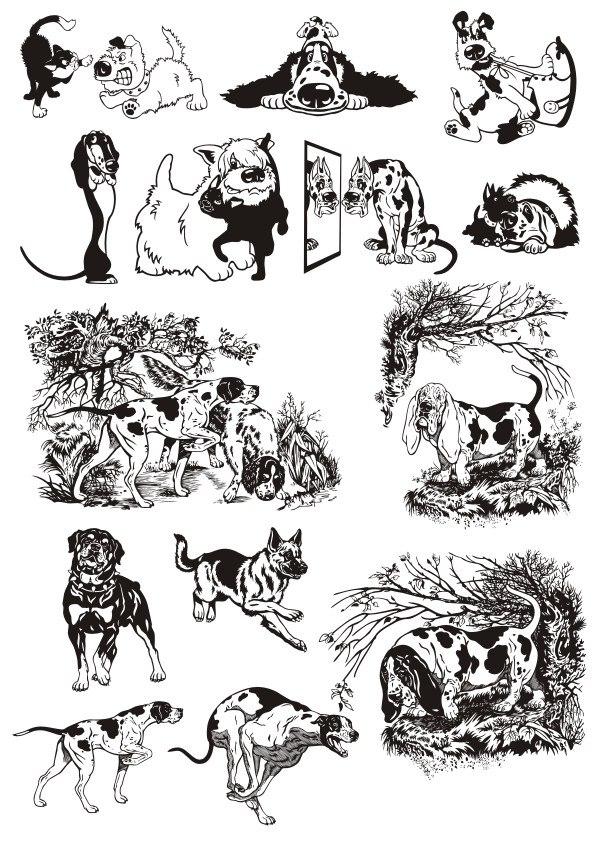 Animals Silhouette Dogs Sticker Free CDR Vectors Art