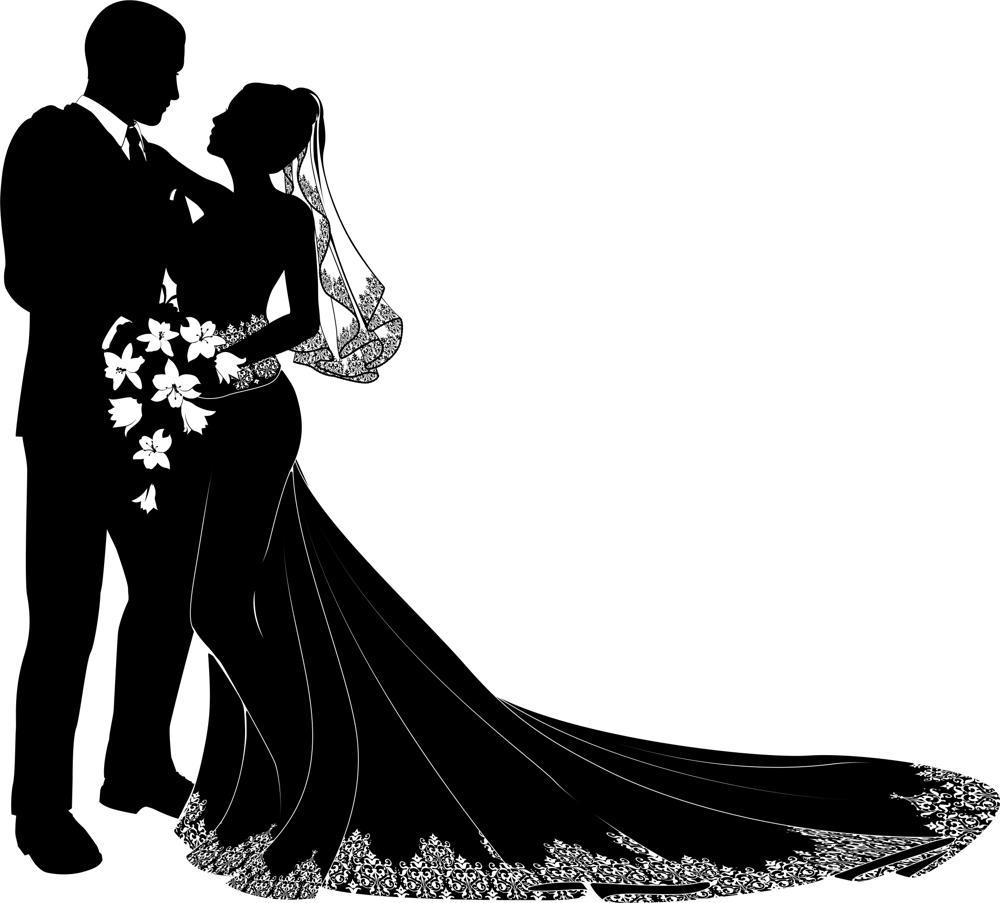 Bride And Groom Silhouette Free CDR Vectors Art