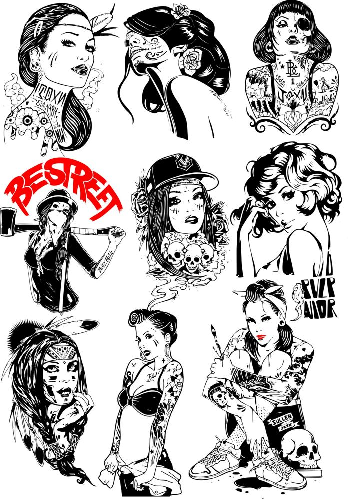 Girls Silhouettes Collection Free CDR Vectors Art