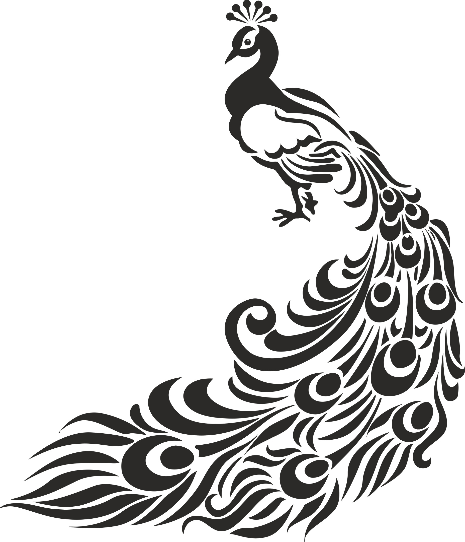 Peacock Tribal Stencil Free CDR Vectors Art