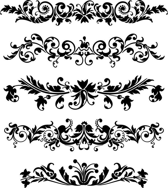Set Of Horizontal Laser Cut Ornaments Free CDR Vectors Art