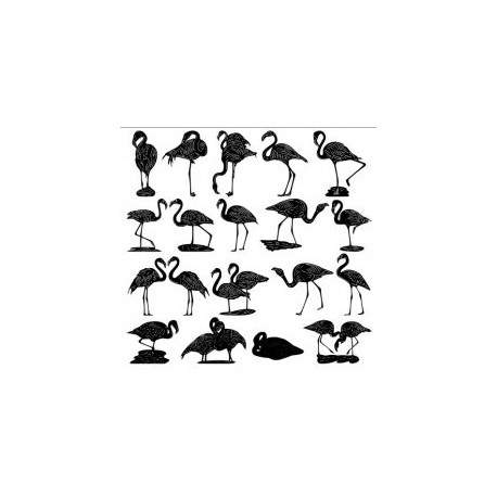 Flamingos Vector Package Free DXF File