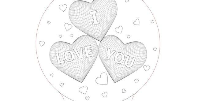 3d Illusion Laser Cut Hearts I Love You Nightlamp Free CDR Vectors Art