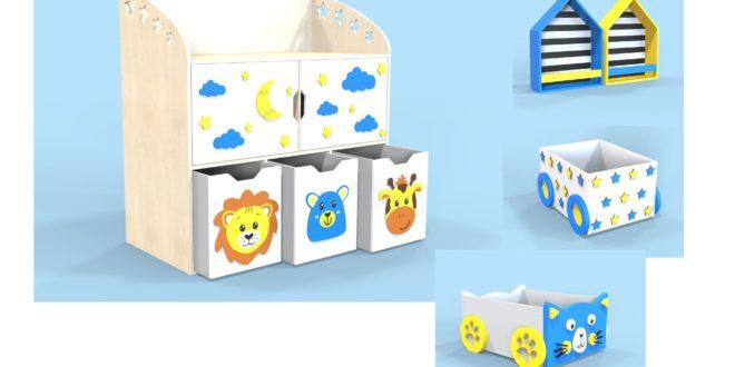 Cnc Template Furniture Child Storage Kids Free CDR Vectors Art