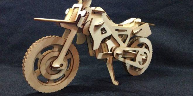 Motocross 3d Puzzle Wood Cut Laser Plan Free CDR Vectors Art