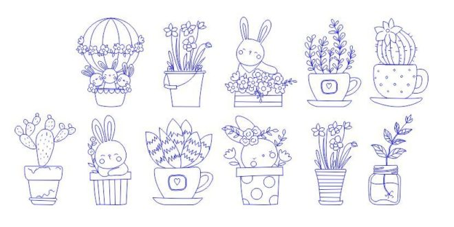 Engraving Elements Bunny Rabbit Free DXF File