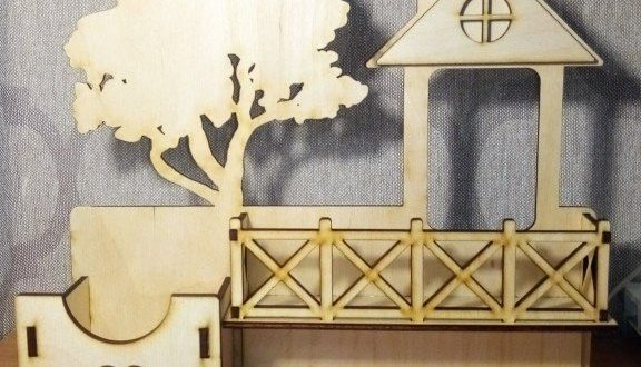 Laser Cut Model House With Tree Free DXF File
