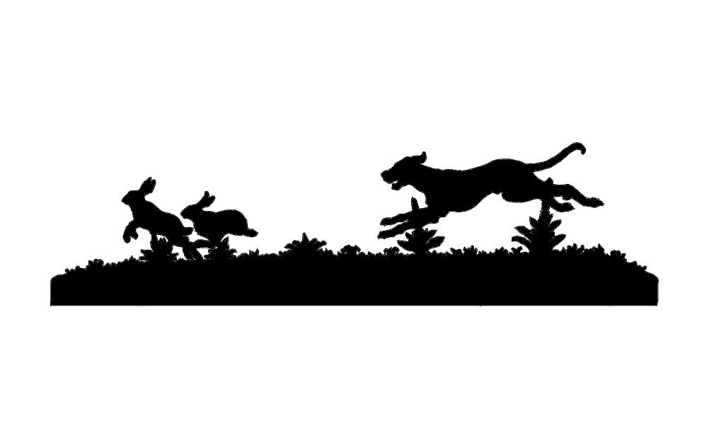 Dog Chasing Rabbits Free DXF File