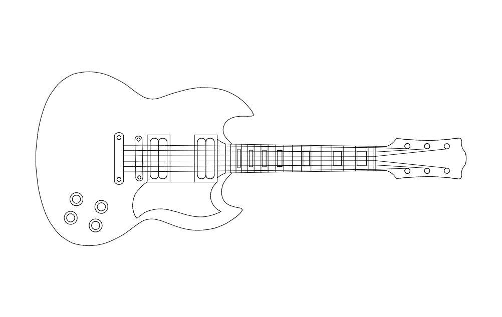 Guitar Free DXF File