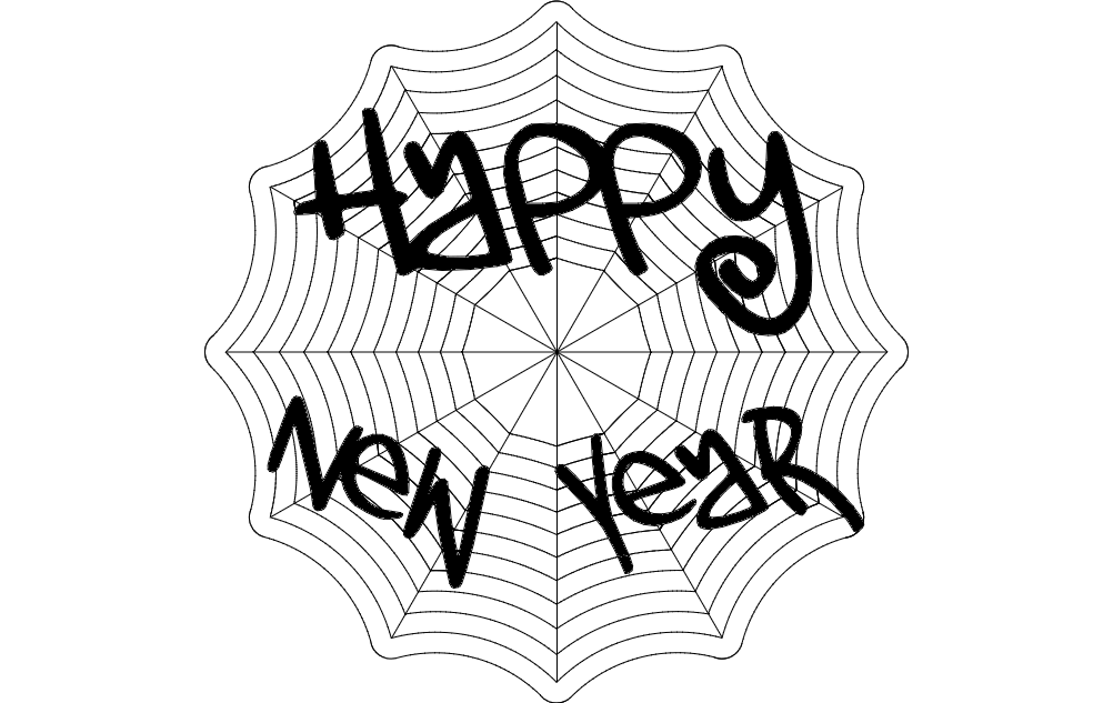 Happy New Year Web Free DXF File