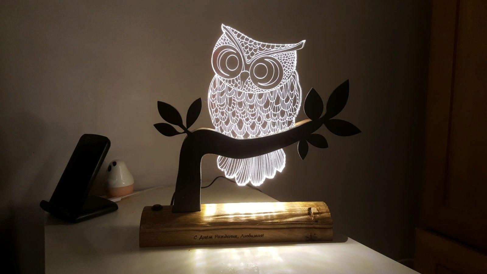 Owl 3d Illusion Led Night Light Free DXF File