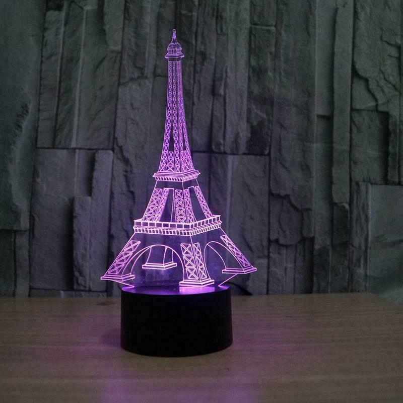 Laser Cut Eiffel Tower Acrylic 3d Illusion Lamp Free CDR Vectors Art