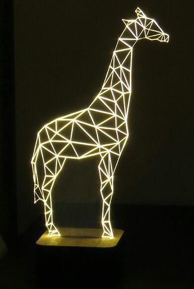 Laser Cut Giraffe 3d Optical Illusion Night Light Free CDR Vectors Art
