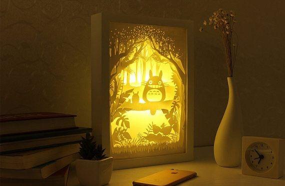Laser Cut My Neighbor Totoro 3d Lightbox Lamp Free CDR Vectors Art