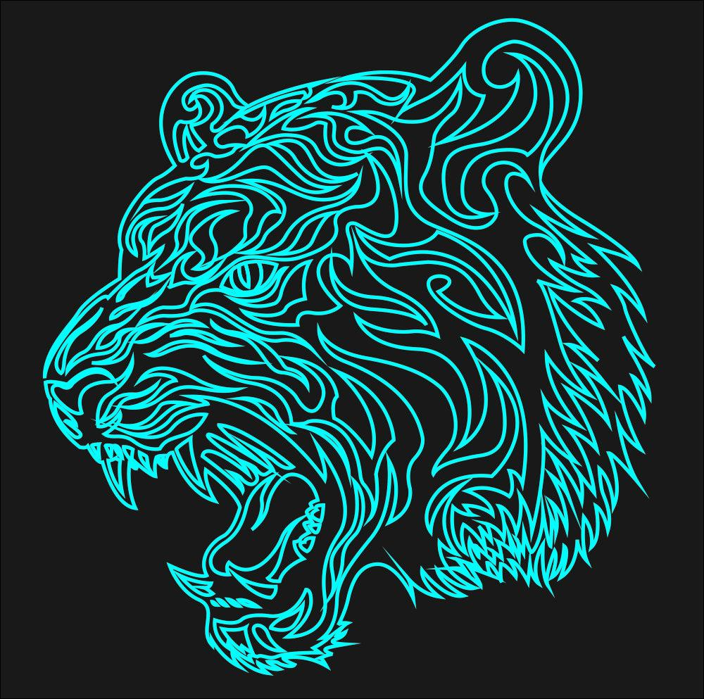 Tiger Laser Acrylic Engraving Art Free CDR Vectors Art