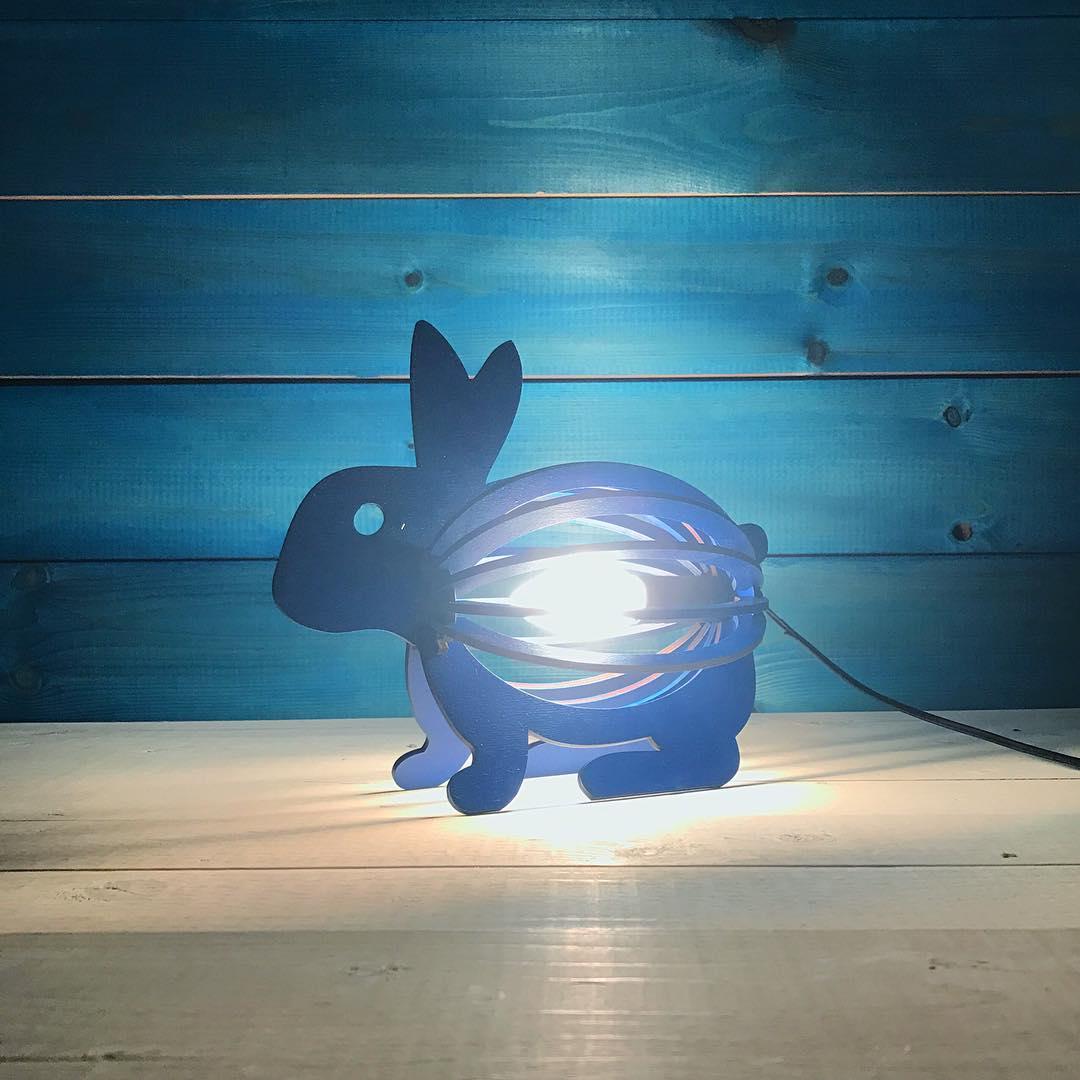 Wooden Rabbit Night Light Bunny Lamp Laser Cutting Template Free CDR Vectors Art