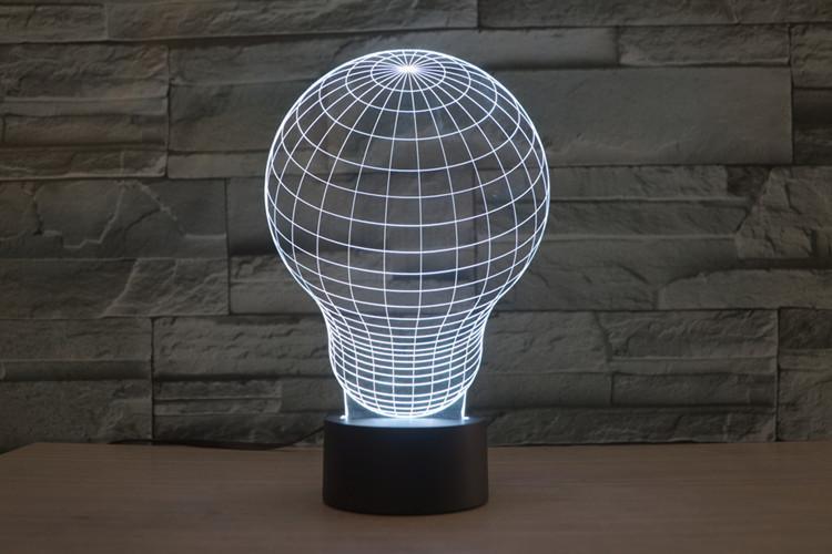 Light Bulb 3d Led Illusion Night Light Lamp Template Free CDR Vectors Art