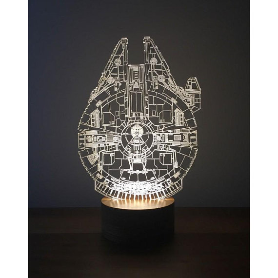Millenium Falcon 3d Lamp Template Free CDR Vectors Art