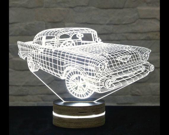 Creative 3d Led Car Night Lamp Template Free DXF File