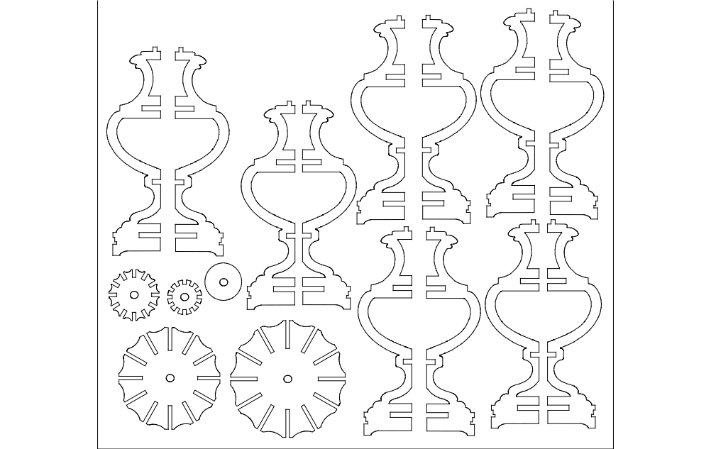 Lamp 2d Flat Template Free DXF File